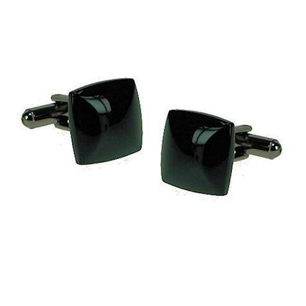 Black Ion-Plated Square Dome Cufflinks - Theodore Designs