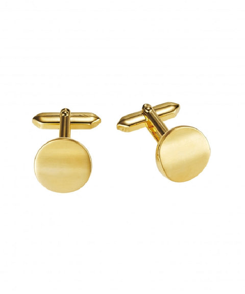 Brushed and Polished Round Gold Plated Cufflinks