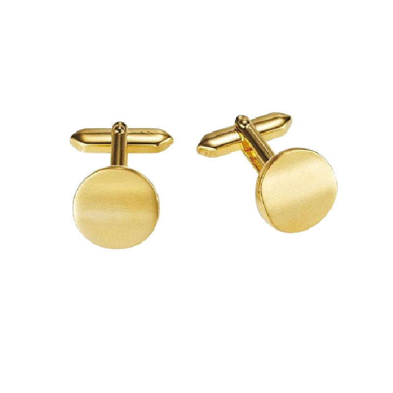 Brushed and Polished Round Gold Plated Cufflinks - Theodore Designs