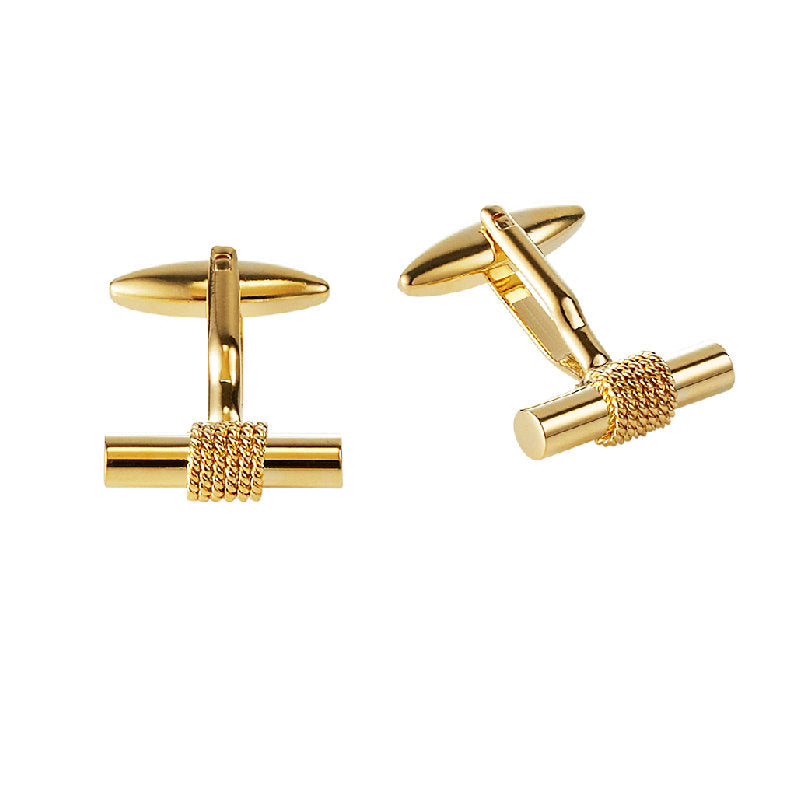 Polished T-bar Cufflinks with Ion Plated Yellow Gold Textured Band - Theodore Designs
