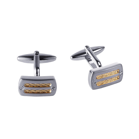Rhodium /Gold Cable  Cufflinks