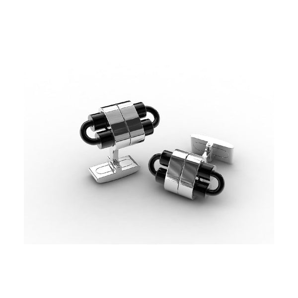 Cudworth Black IP Pattern Stainless Steel Cufflinks