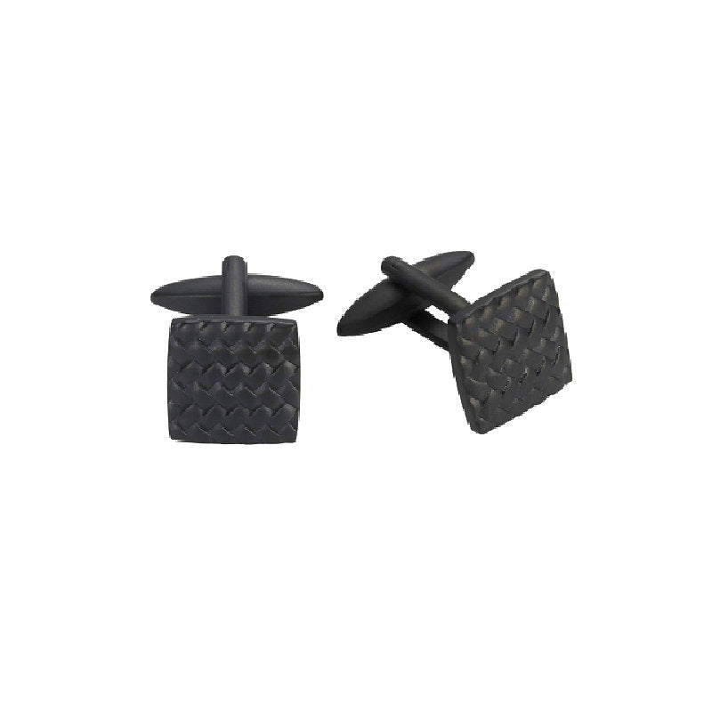 Ion Plated Black Stainless Steel Tyre pattern Cufflinks - Theodore Designs