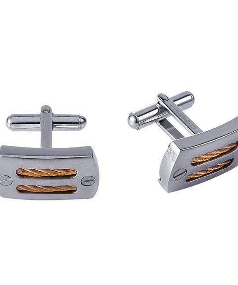 Cudworth Stainless Steel and Gold IP Plated Cable Cufflinks