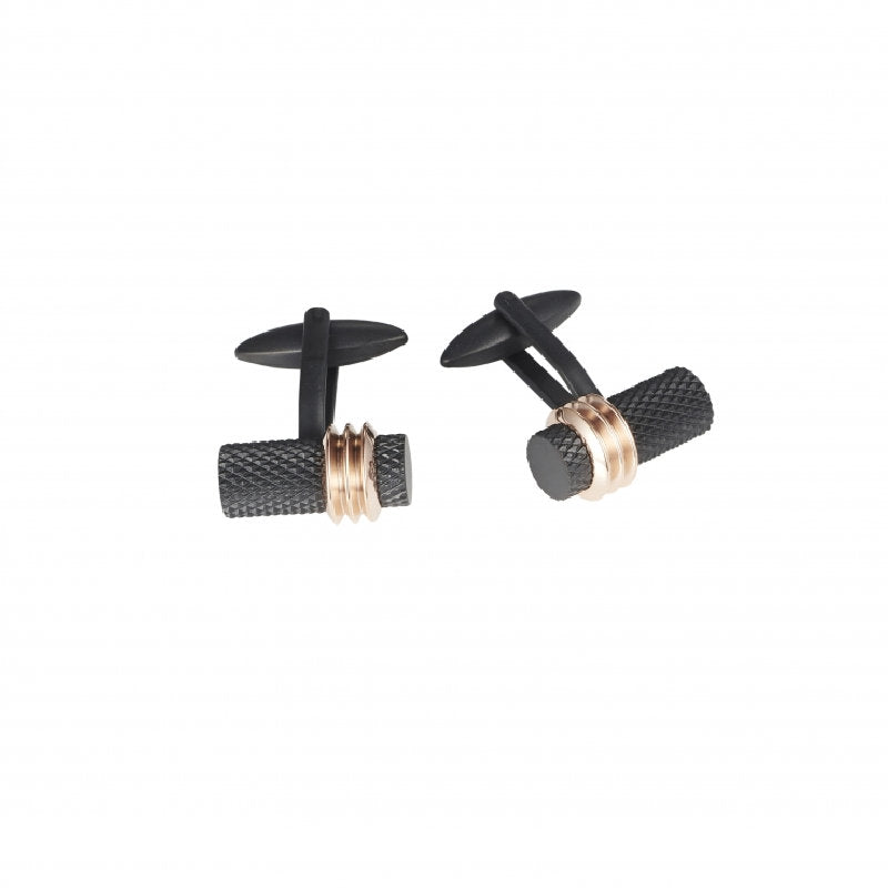 Stainless Steel/Ion Plated Black patterned & Rose Gold Cufflinks - Theodore Designs