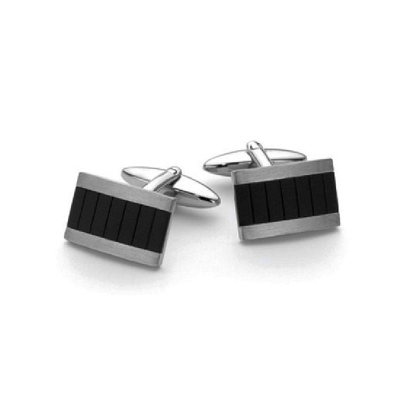 Stainless Steel & Black IP Cufflinks - Theodore Designs