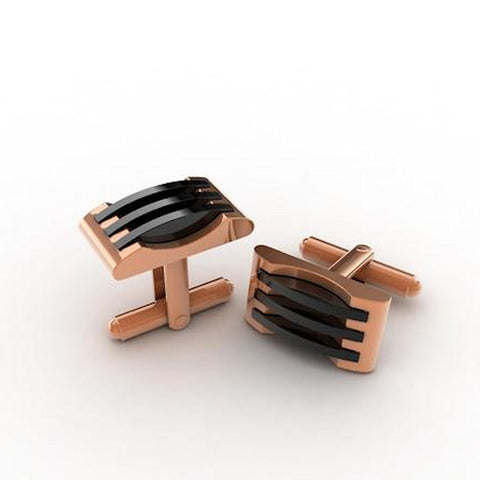 Rose Gold Stainless Steel Cufflinks - Theodore Designs