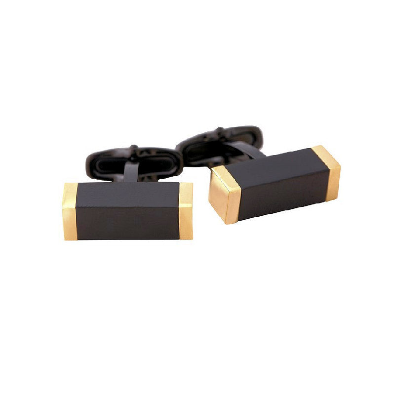 Ion Plated Yellow Gold and Black Stainless Steel Rectangle Cufflinks - Theodore Designs