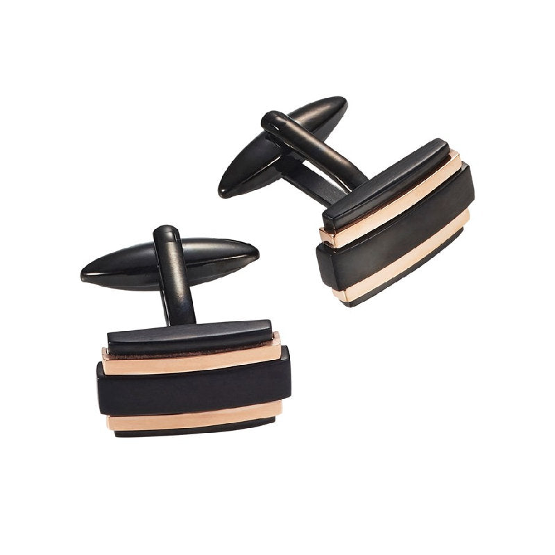 Ion Plated Brushed Black and Polished Rose Gold Rectangle Cufflinks - Theodore Designs
