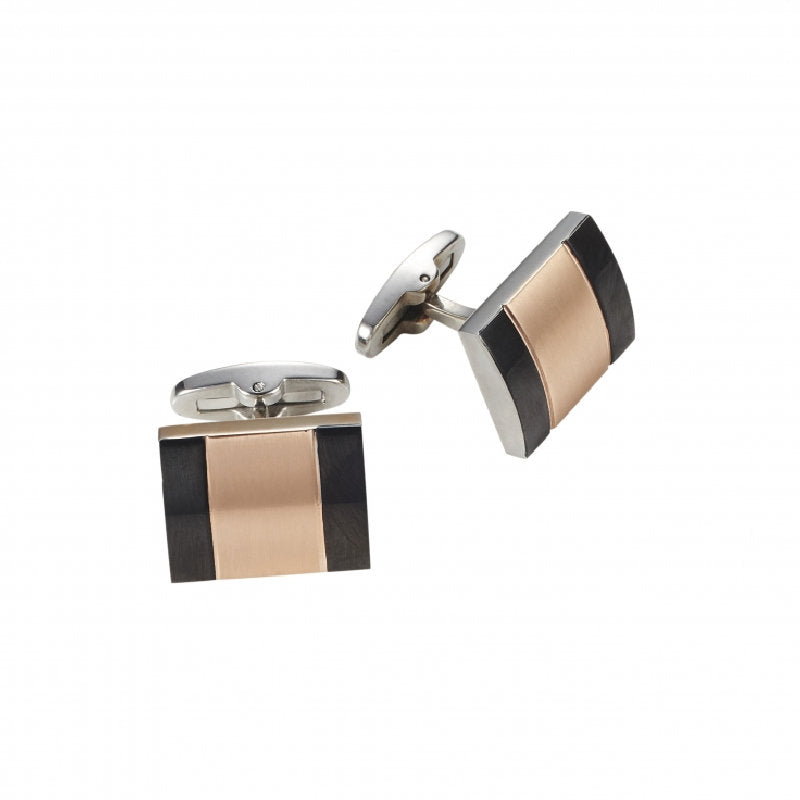 Ion Plated Polished Black and Brushed Rose Gold Cufflinks - Theodore Designs