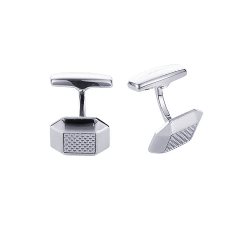 Cudworth Polished Octagonal Stainless Steel and Silver Fibreglass Cufflinks