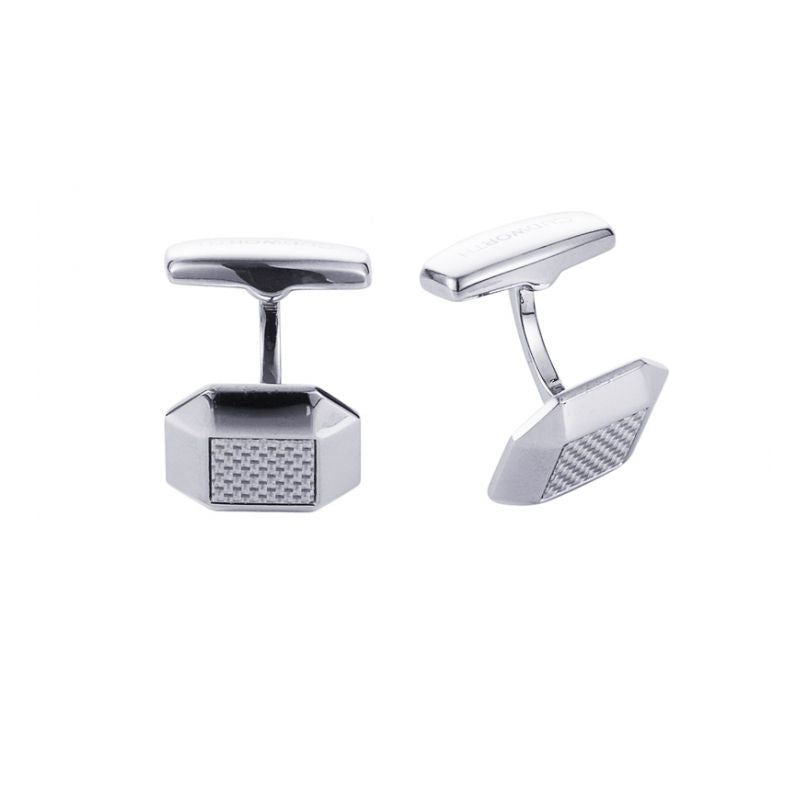Cudworth Polished Octagonal Stainless Steel and Silver Fibreglass Cufflinks - Theodore Designs
