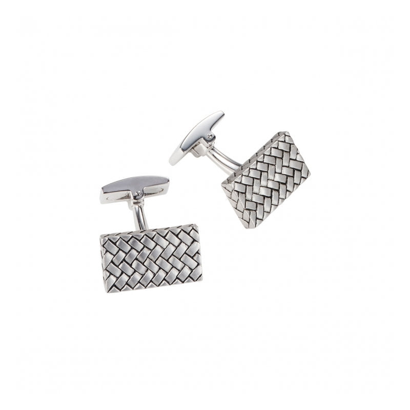 Sterling Silver Woven Pattern Rectangle Cufflinks - Theodore Designs