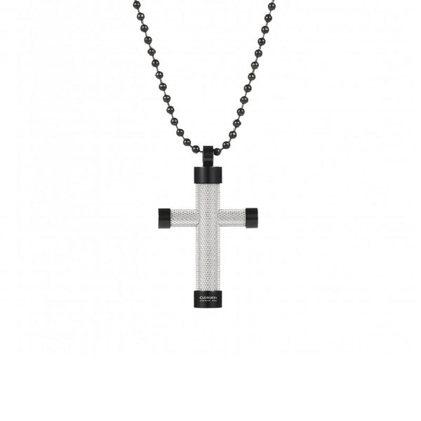 Textured Stainless Steel And Ion Plated Black Cross Pendant