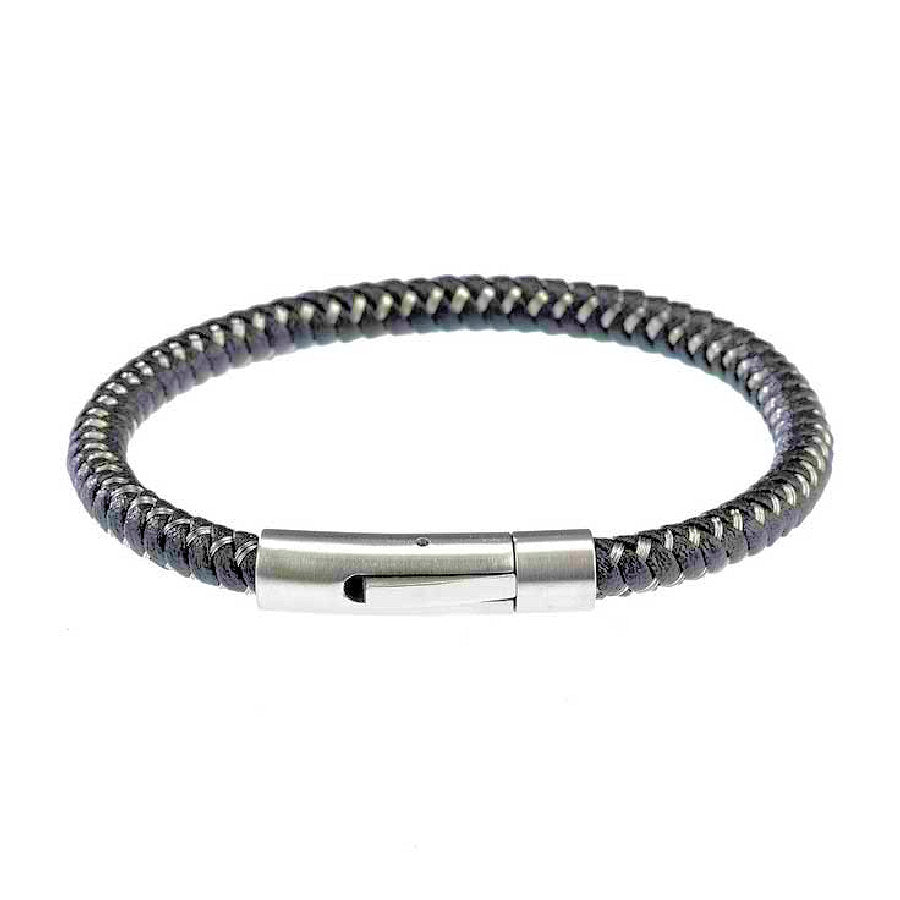 Black Leather and Woven Steel Bracelet with Steel Clasp - Theodore Designs