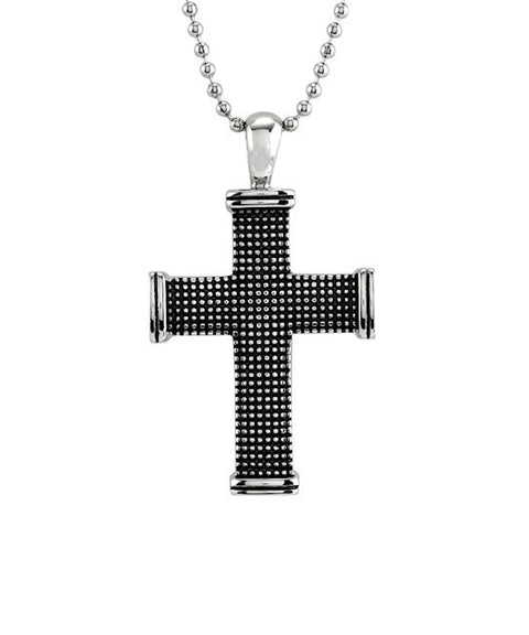 Black IP Plated Stainless Steel Mens Cross Necklace - Theodore Designs