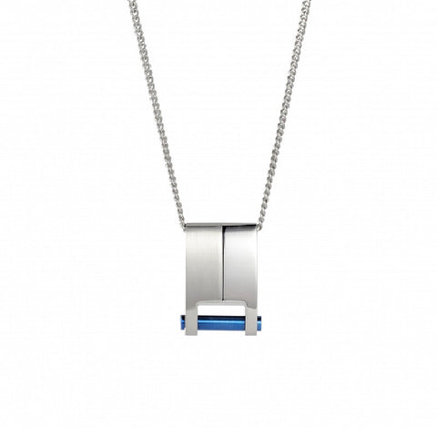 Cudworth Brushed and Polished Stainless Steel and Ion Plated Blue Pendant