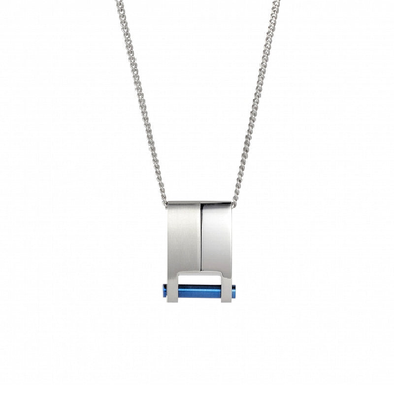 Cudworth Brushed and Polished Stainless Steel and Ion Plated Blue Pendant - Theodore Designs