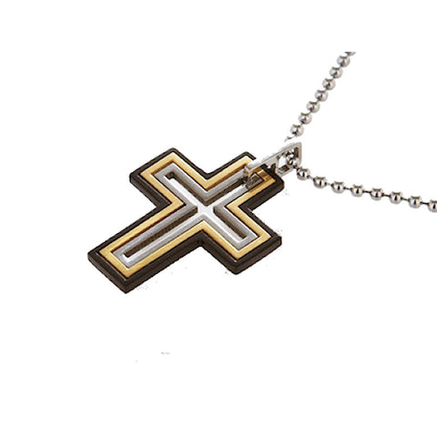 Rose Gold and Stainless Steel Mens Cross Pendant - Theodore Designs