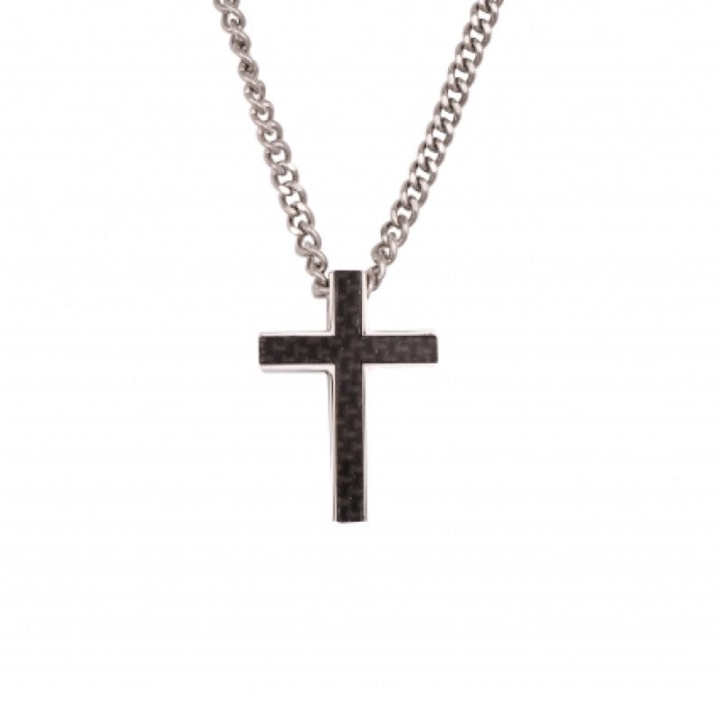 Stainless Steel and Carbon Fibre Cross Pendant on Curbed Link Chain - Theodore Designs