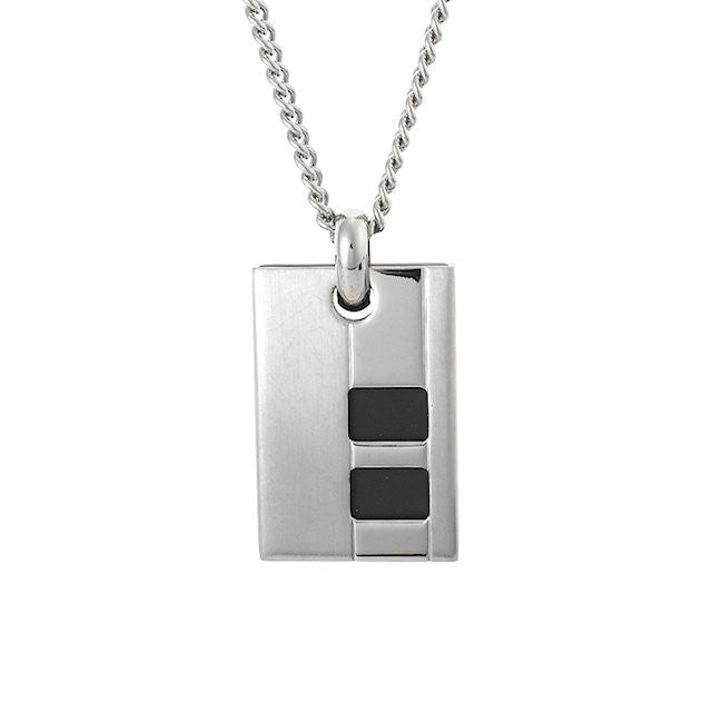 Brushed Stainless Steel and Rubber Inlay Pendant - Theodore Designs