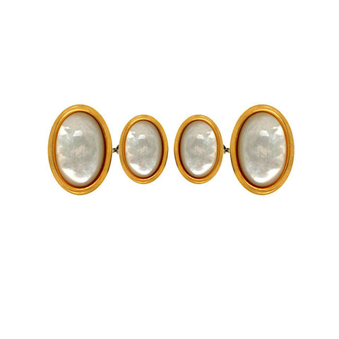 Oval Mother of Pearl Gold Chain Cufflinks - Theodore Designs