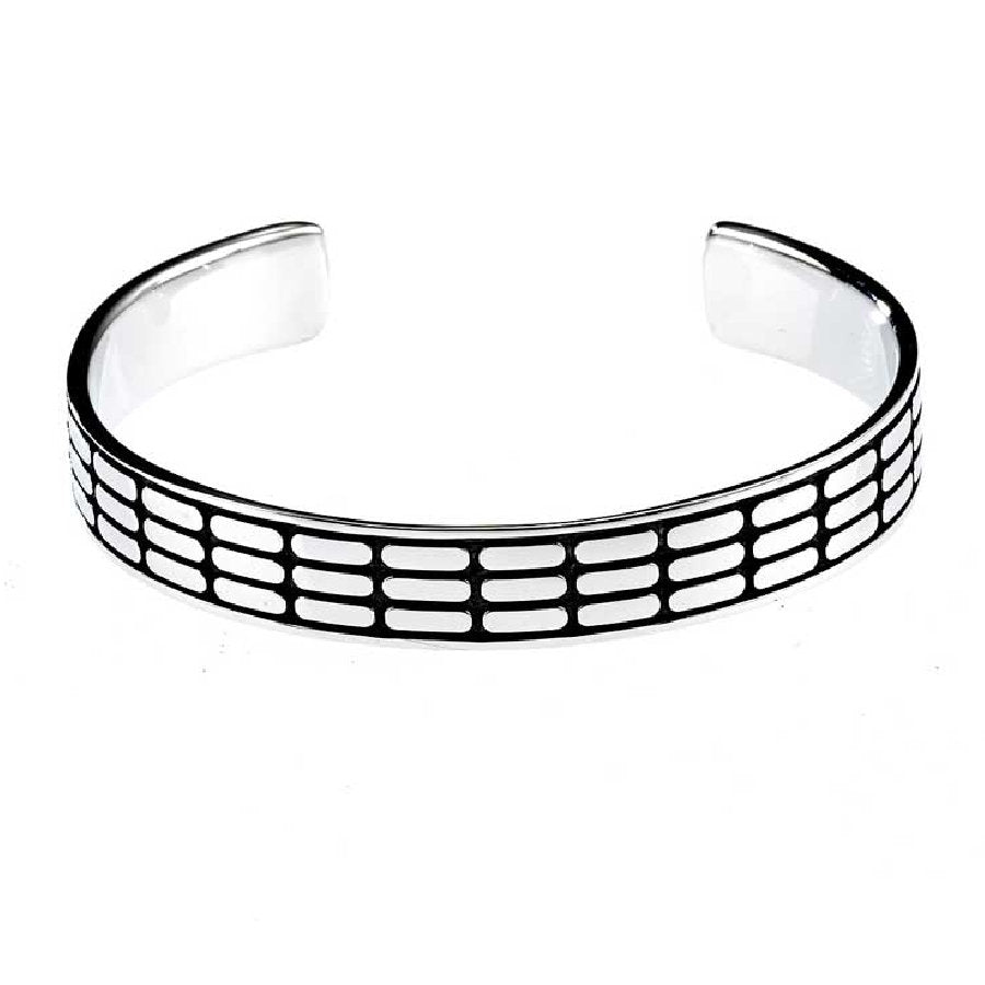 Sterling Silver and Black Enamel Rectangle Bangle/Cuff with Vertical Tile Pattern - Theodore Designs