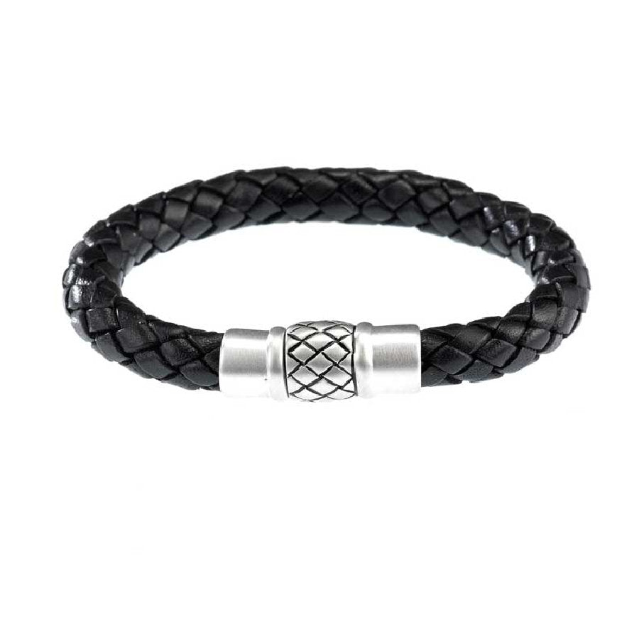 Woven Black Leather Bracelet with Brushed Sterling Silver Clasp - Theodore Designs