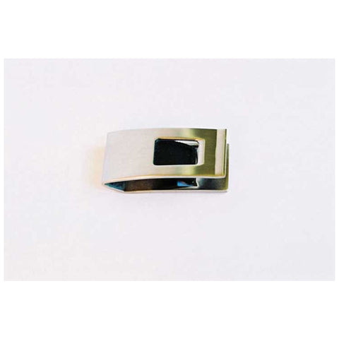 Cudworth Rhodium and Leather Money Clip
