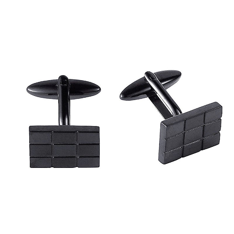 Cudworth Stainless Steel and Black IP Plating Cufflinks - Theodore Designs