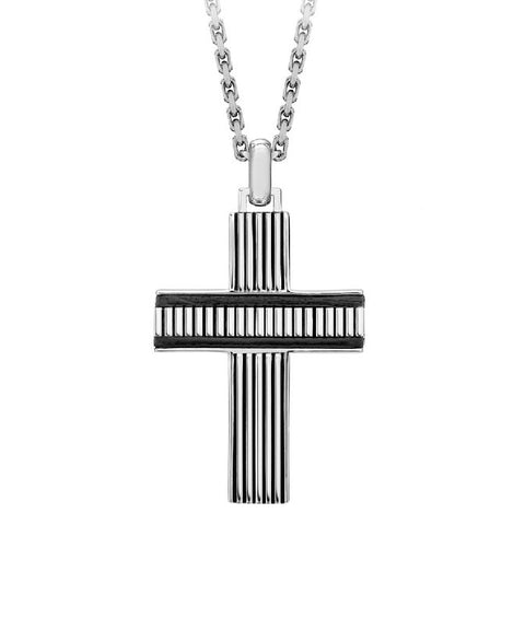 Hoxton London Men's 925 Sterling Silver Bold Leather Ribbed Cross