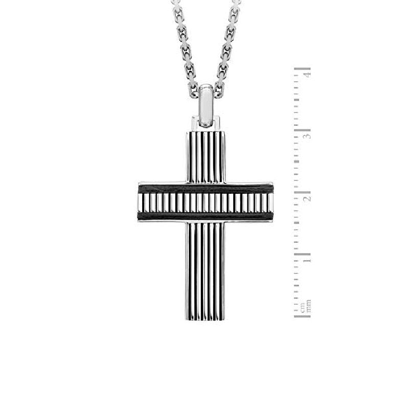Hoxton London Men's 925 Sterling Silver Bold Leather Ribbed Cross - Theodore Designs