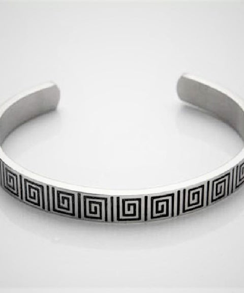 Brushed Stainless Steel Cuff/Bangle with Black Enamel Greek Key Pattern
