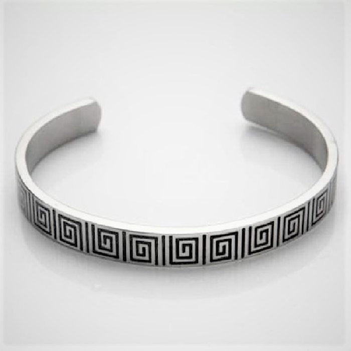 Brushed Stainless Steel Cuff/Bangle with Black Enamel Greek Key Pattern - Theodore Designs