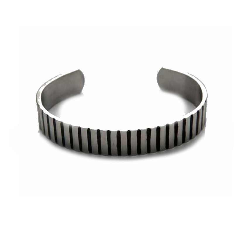 Brushed Stainless Steel Corrugated Cuff/Bangle with Black Enamel - Theodore Designs