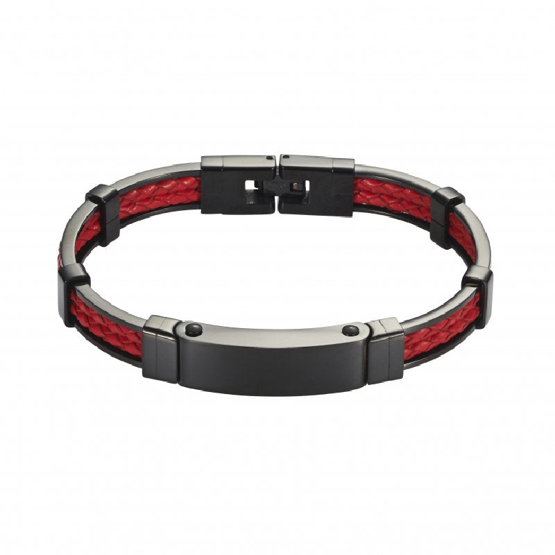 Stainless Steel and Red Leather Bracelet with Locking Clasp - Theodore Designs