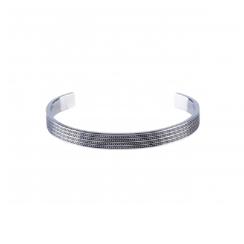 Stainless Steel Cuff/Bangle with Ion Plated Black Rope Pattern - Theodore Designs