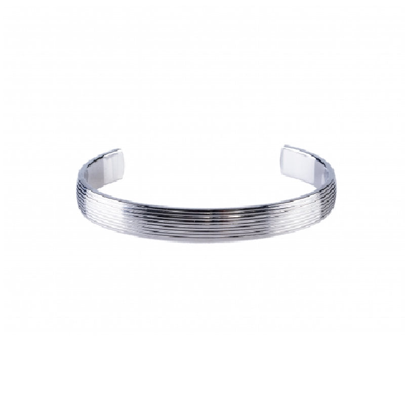 Brushed and Stainless Steel Ribbed Cuff/Bangle - Theodore Designs