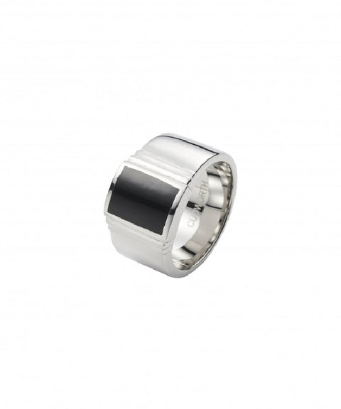Polished Stainless Steel and Black Lacquer Signet Ring