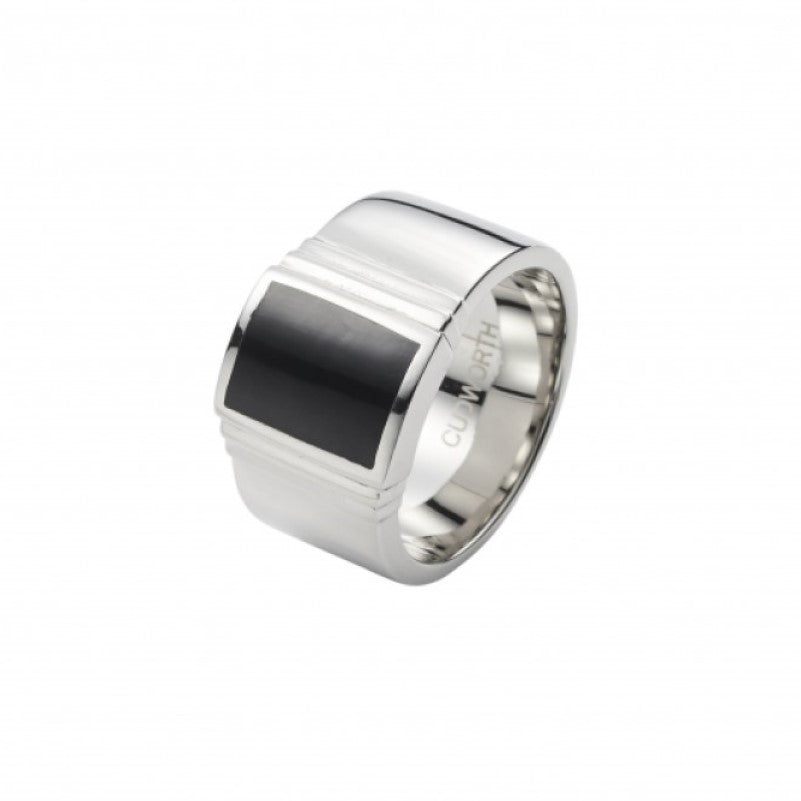 Polished Stainless Steel and Black Lacquer Signet Ring - Theodore Designs