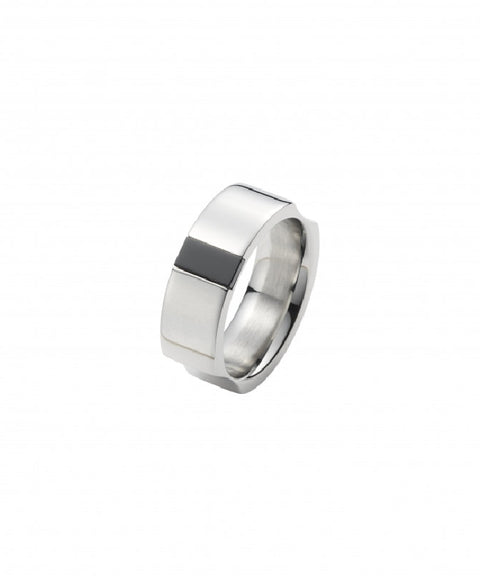 Polished Stainless Steel and Onyx Ring