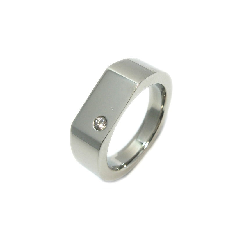 Stainless Steel Ring with Cubic Zirconia in Center - Theodore Designs