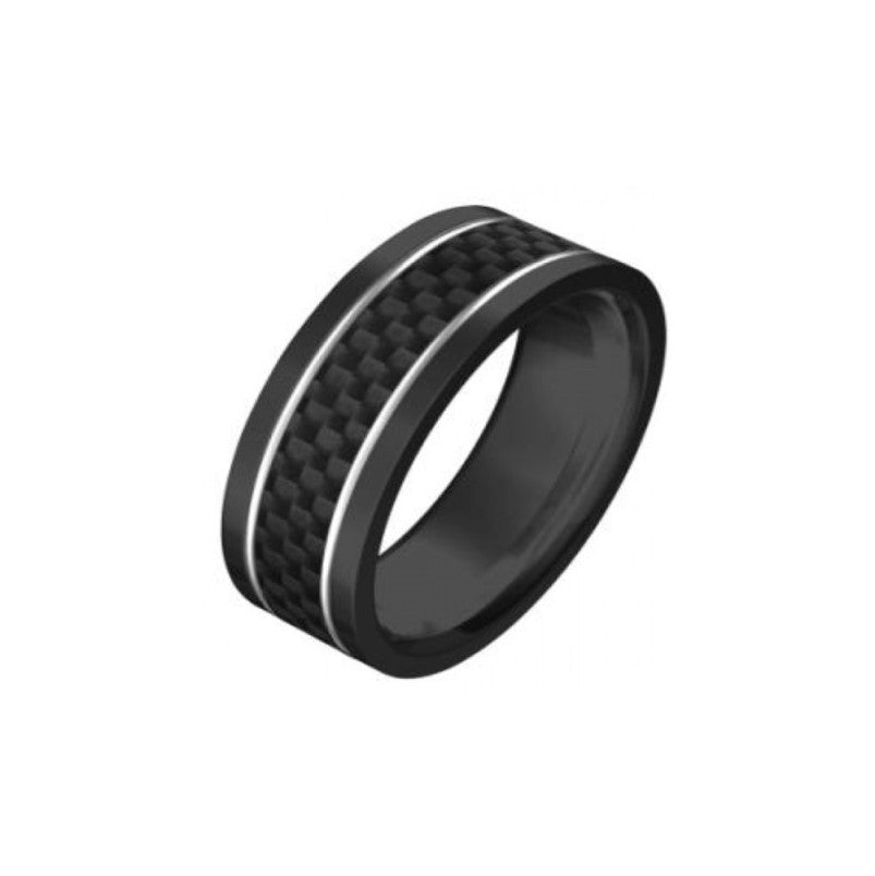 Ion Plated Black Stainless Steel/Carbon Fibre Inlay Ring - Theodore Designs