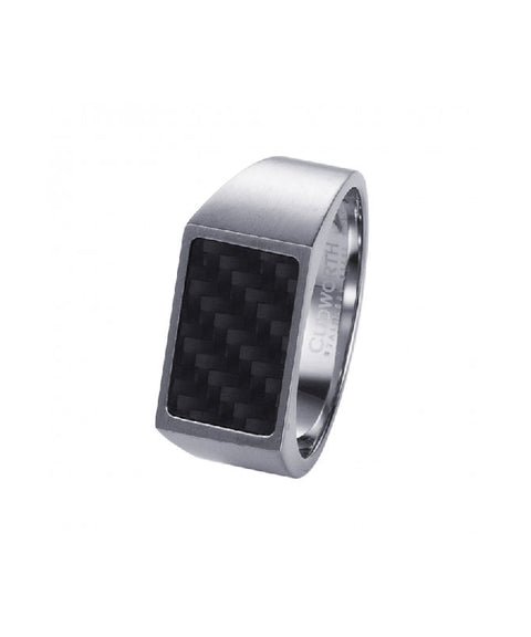 Brushed Stainless Steel and Black Carbon Fibre Signet Ring
