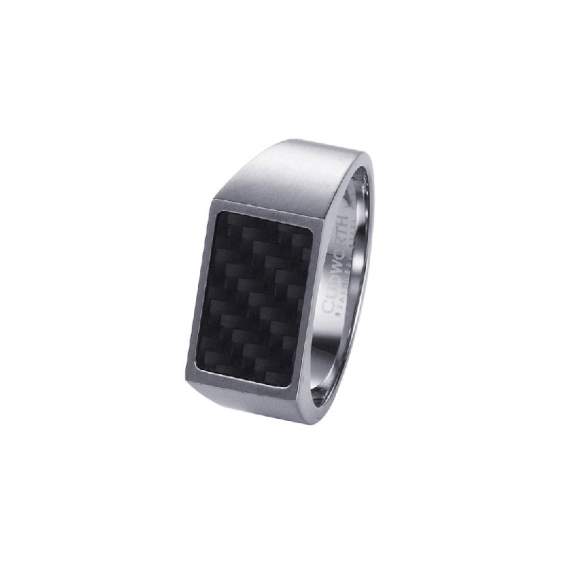 Brushed Stainless Steel and Black Carbon Fibre Signet Ring - Theodore Designs