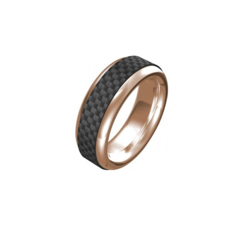 Stainless Steel/IP Rose Gold/Carbon Fibre Ring - Theodore Designs