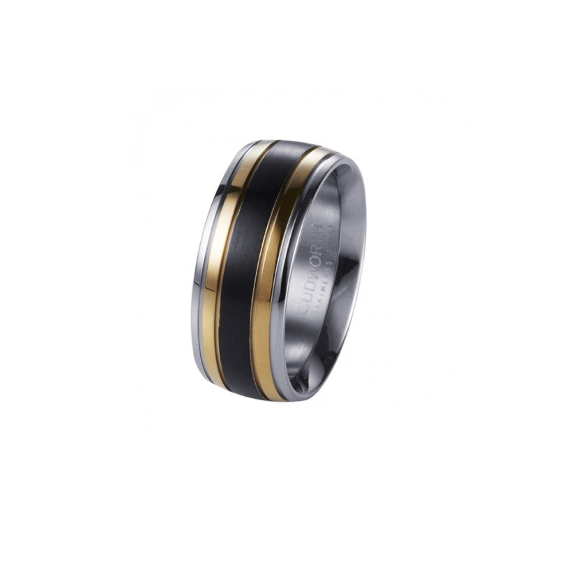 Polished Stainless Steel, Ion Plated Gold and Matt IP Black Ring - Theodore Designs