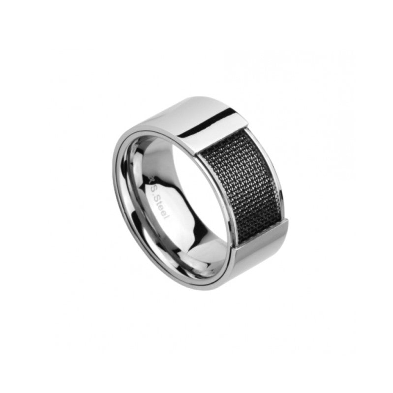 Stainless Steel and Ion Plated Black Mesh Pattern Ring - Theodore Designs
