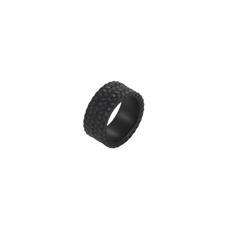 Black Ion Plated  Stainless Steel Tyre Pattern Ring - Theodore Designs