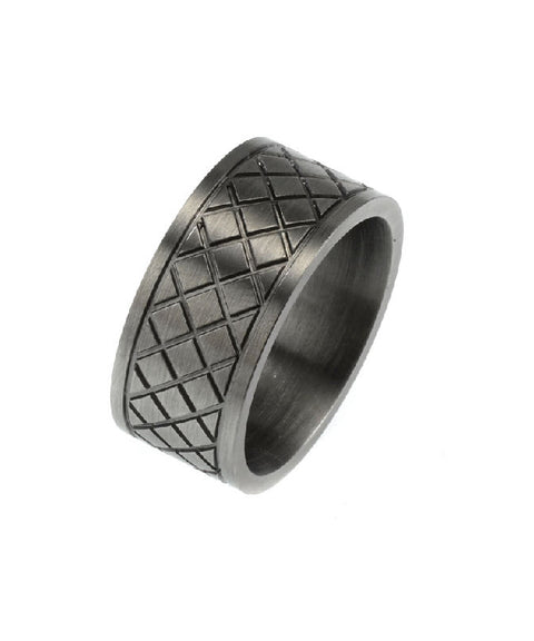 Ion Plated Antique Gunmetal Cross Pattern Stainless Steel Ring